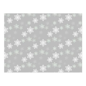 Aztec Themed Christmas Silvery White Snow Flurries Postcard