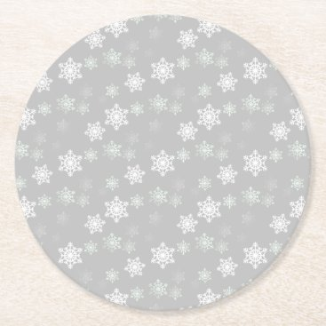 Aqua Christmas Silvery White Snow Flurries Round Paper Coaster
