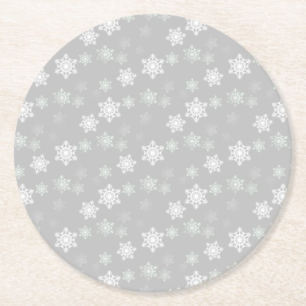 Christmas Silvery White Snow Flurries Round Paper Coaster