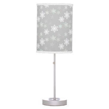 Aqua Christmas Silvery White Snow Flurries Table Lamp