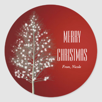 Christmas Simple Rustic Tree Holiday Sticker