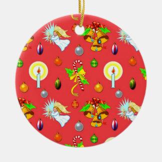 Christmas - Singing Angels & Golden Bells Ceramic Ornament