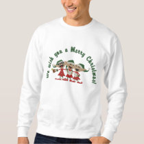 Christmas Singing Elves Embroidered Sweatshirt