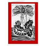 Christmas Single Candle & Holly Sprig -black ink Card