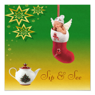 """Christmas Sip & See Baby & Teapot Baby Shower 5.25"""" Square Invitation Card"""