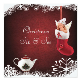 Christmas Sip & See Baby & Teapot Baby Shower Personalized Announcement