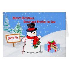 Christmas, Sister And Brother-in-law, Snowman Card at Zazzle