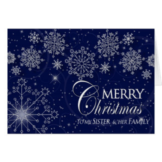 CHRISTMAS - SISTER AND HER FAMILY - NAVY/SNOWFLAKE CARD