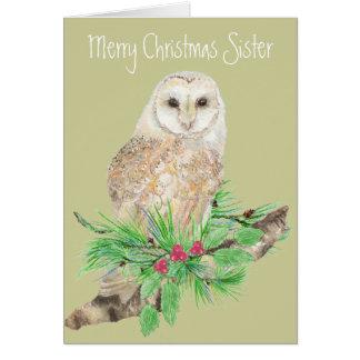 Christmas Sister Barn Owl Greeting Card