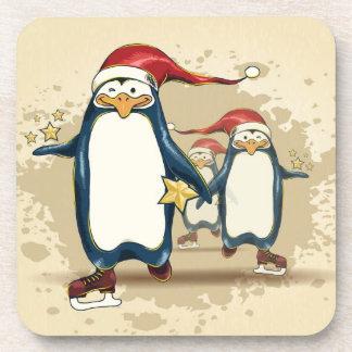 Christmas Skating Penguins Coaster