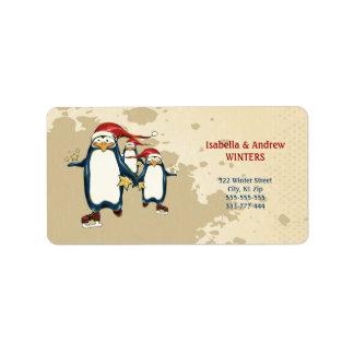 Christmas Skating Penguins Label