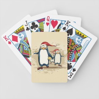 Christmas Skating Penguins Bicycle Playing Cards