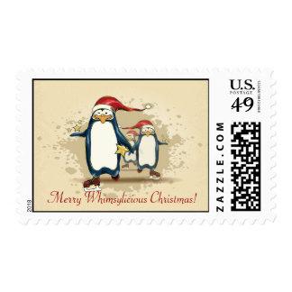 Christmas Skating Penguins Postage Stamps