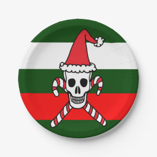 Christmas Skull and Candy Cane Crossbones Paper Plate