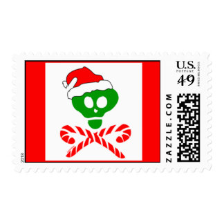 Christmas Skull and Crossbones Stamp