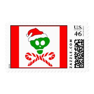 Christmas Skull and Crossbones Stamp