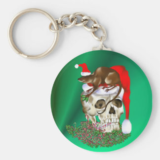 Christmas Skull and Happy Rat keychain