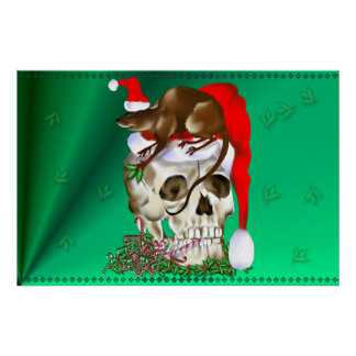 Christmas Skull and Happy Rat Poster