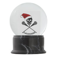 Christmas Skull and Lacrosse Sticks Snow Globe