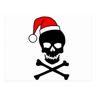 Christmas Skull Black Postcard