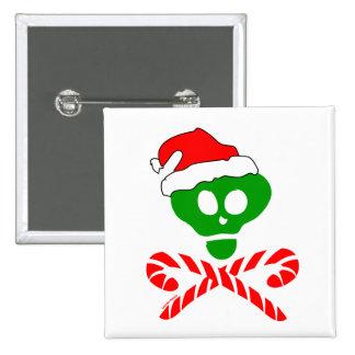Christmas Skull Crossbones Pinback Button