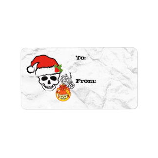 Christmas skull gift tag