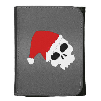 Christmas Skull Leather Trifold Wallets