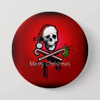 Christmas skull pinback button