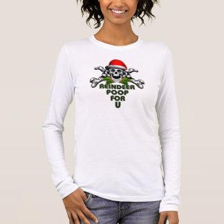 Christmas Skull: Reindeer Poop Long Sleeve T-Shirt