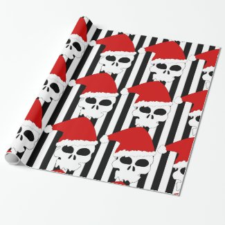 Christmas Skull Santa Hat on Black & White Stripes Wrapping Paper