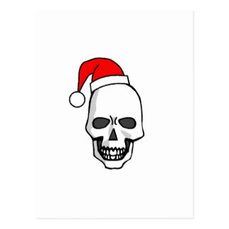 Christmas Skull White Post Card
