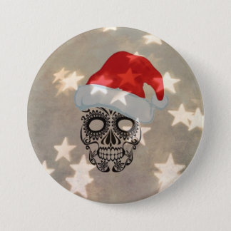 Christmas skull with star bokeh button