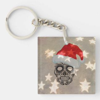 Christmas skull with star bokeh keychain