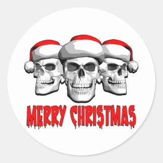 Christmas Skulls Round Sticker