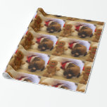 Christmas sleeping boxer puppy wrapping paper