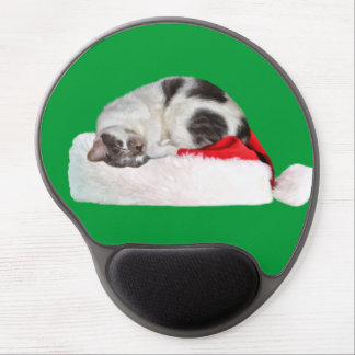 Christmas, Sleeping Cat, Santa Hat Gel Mouse Pad