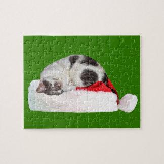 Christmas, Sleeping Cat, Santa Hat Jigsaw Puzzle