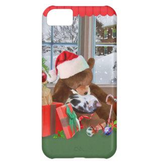 Christmas, Sleeping Cat, Teddy Bear Case For iPhone 5C