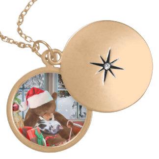 Christmas, Sleeping Cat, Teddy Bear Round Locket Necklace