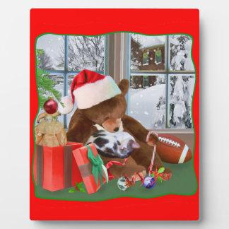 Christmas, Sleeping Cat, Teddy Bear Plaques