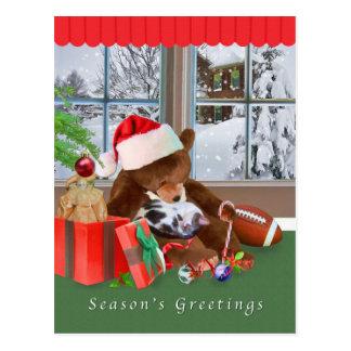 Christmas, Sleeping Cat, Teddy Bear, Postcard