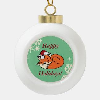 Christmas Sleeping Fox Ceramic Ball Christmas Ornament