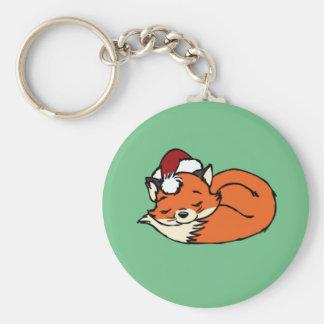 Christmas Sleeping Fox Keychain
