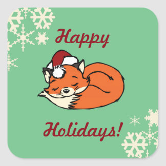 Christmas Sleeping Fox Square Sticker