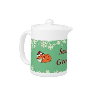 Christmas Sleeping Fox Teapot