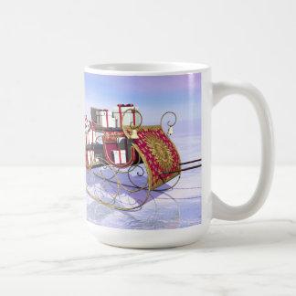Christmas sleigh carrying gifts coffee mug
