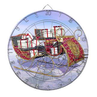 Christmas sleigh carrying gifts dartboard with darts