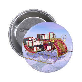 Christmas sleigh carrying gifts pinback button