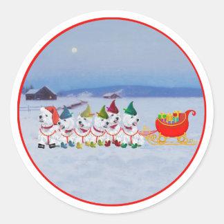 Christmas Sleigh Classic Round Sticker