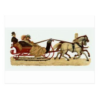Christmas Sleigh Ride Christmas Postcard